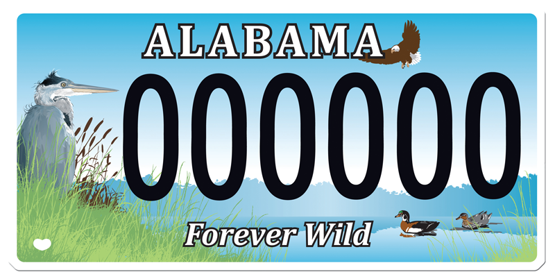 Forever wild license plate forever wild for How much is a fishing license in alabama
