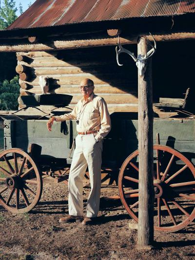 Robert Wehle standing in front of a wagon