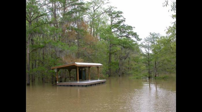 The Jug Lake floating platform can be reserved for camping.