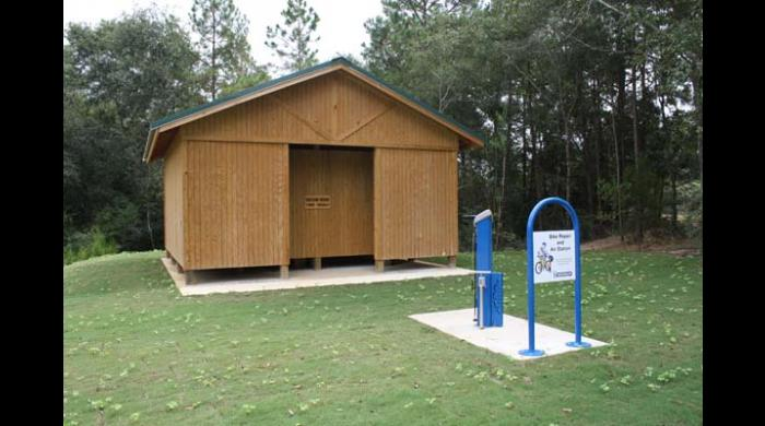 Dressing rooms and bike repair station at the East Trailhead.